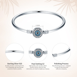 Image 2 - BAMOER High Quality Authentic 925 Sterling Silver Blue Eyes Clear CZ Snake Chain Heart Bangle & Bracelet Luxury Jewelry SCB012
