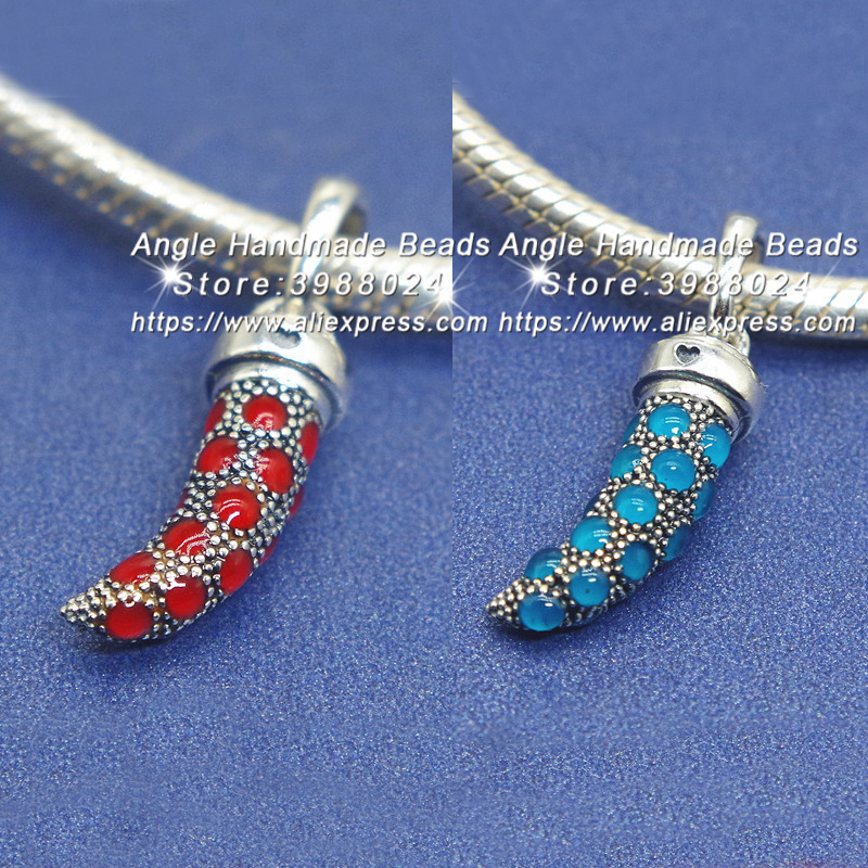 2018 Summer S925 Silver Jewelry Turquoise & Red Italian Horn Enamel Charms Pendant Beads Fit DIY Pandora Bracelets Necklace 277