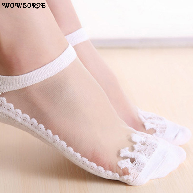 Cute Sock Slipper Women 1 Pair 2 Pieces Silk Spring Summer Kawaii Thin Sock Slippers Breathable Fashion Girl Boat Socks