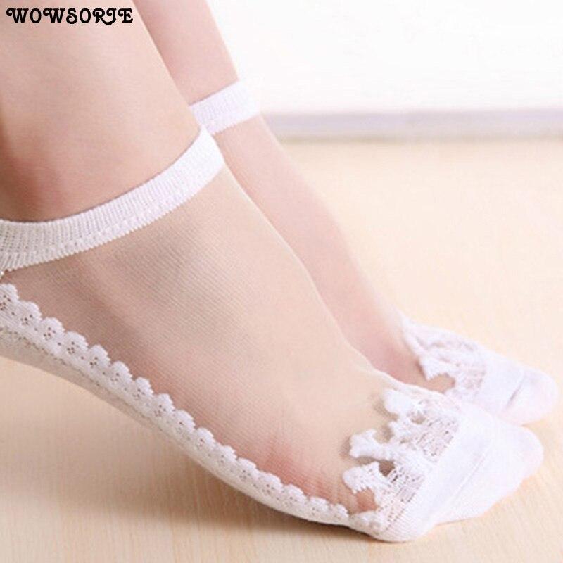 Cute Sock Slipper Women 1 Pair 2 Pieces Silk Spring Summer Kawaii Thin Sock Slippers Breathable Fashion Girl Boat Socks