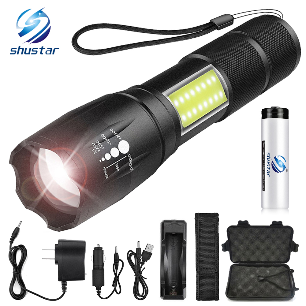 LED flashlight side COB lamp design T6/L2 8000 lumens Zoomable torch 4 light modes for 18650 battery + charger +giftLED flashlight side COB lamp design T6/L2 8000 lumens Zoomable torch 4 light modes for 18650 battery + charger +gift