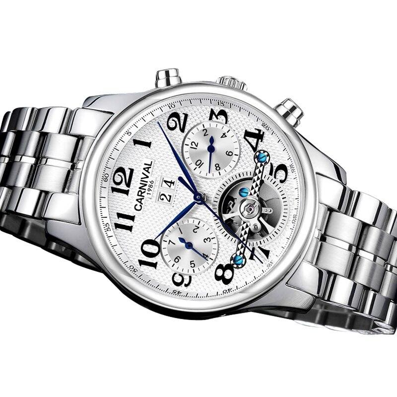 Karneval Herren Business Multifunktions Holllow out Zifferblatt Stahl Armband Automatische Mechanische Uhr silber lünette weißes zifferblatt-in Mechanische Uhren aus Uhren bei  Gruppe 3