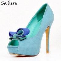 Sorbern Mint Green Peep Toe Women Pumps Slip On Platform High Heel Shoes Women Plus Size