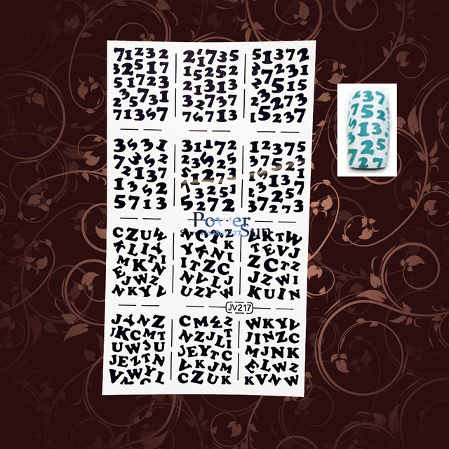 hot sale arabic letter white hollow out resuable nail art stickers stencil template pwjv217 alphabet nail