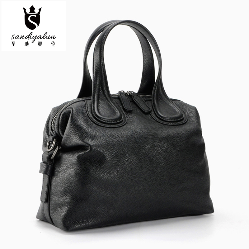 2016 New Fashion Genuine Leather Women Handbags Ladies Litchi Pattern Cow Leather Big Single Shoulder Bag Crossbody Shell Bags new arrival 2017 vintage cow leather handbags women genuine leather shoulder bags boston bag fashion ladies crossbody bag