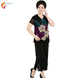 2017 summer new middle aged women suit set loose large size leisure two piece suit sets.jpg 250x250