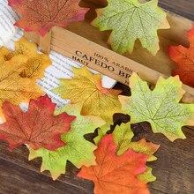 Folhas de bordo de seda artificial de 7cm, para fotografia, adereços, artesanato, folhas vívidas falsas para plano de fundo de fotos, decoração de álbum de recortes faça você mesmo