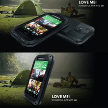 LOVE MEI Original Shockproof Dirtproof Waterproof Powerful Aluminum Metal Case For HTC New One  M8 Metal Cover Retail Package