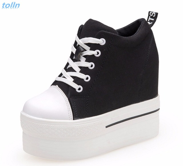 2017 new Wedges Canvas Shoes Woman Platform Vulcanized Shoes Hidden Heel Height Increasing Casual Shoes female chaussure femme