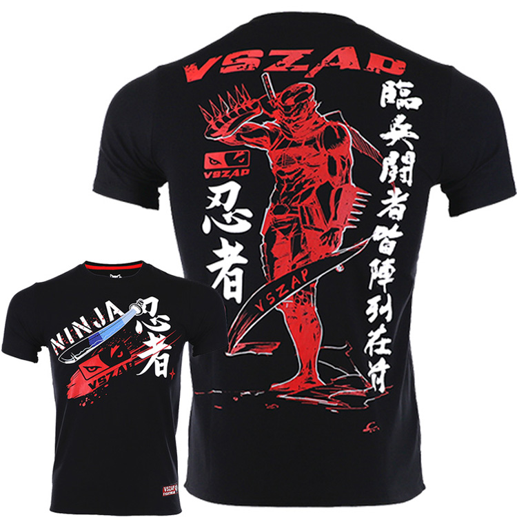 VSZAP Fighting Ninja Loose MMA Fight Short Sleeved T-shirt Japan Leisure Fitness Brand Sports Training Thai Boxing