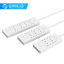 Orico USB Power Strip UK PLUG 4 6 8 AC Outlet Power Socket 5 Port USB Surge Protected Kabel Ekstensi adaptor Kabel Power 1.5M(China)