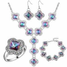 Thick silver plated jewelry set 925 temperament wholesale colorful gem fashion suit