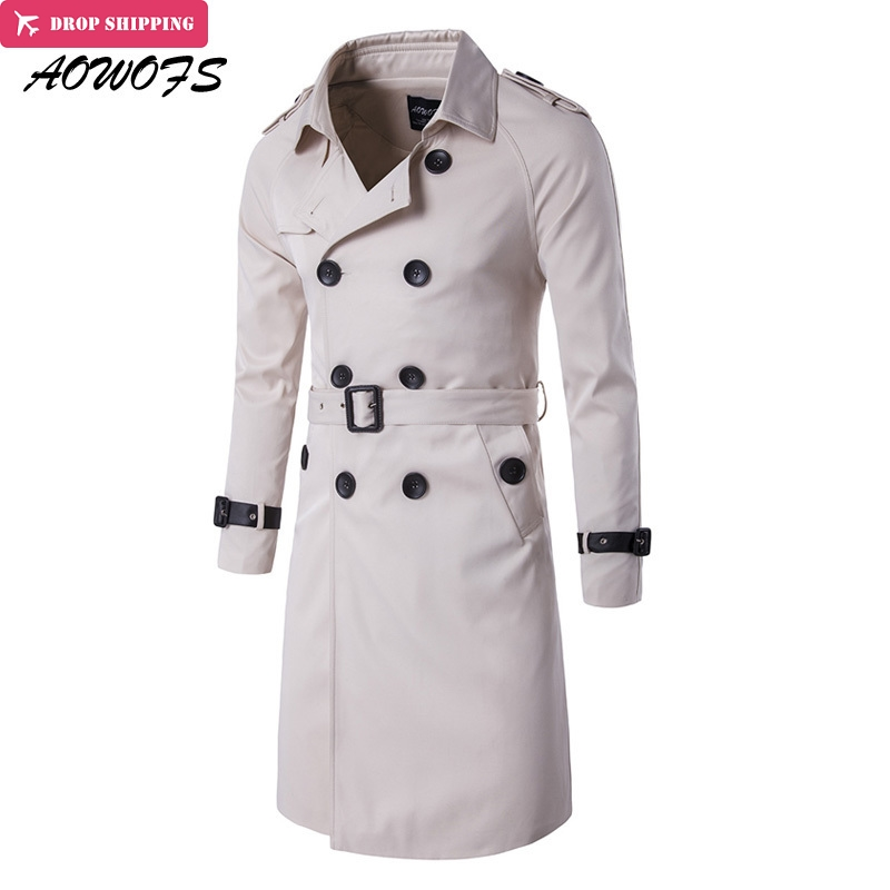 AOWOFS Fashion   Trench   Men Slim Fit Long   Trench   Coats Men Double Breasted Trenchcoat British Style overcoat Male Windbreaker