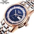 Nuevo reloj de los hombres de acero inoxidable mecánico automático de los hombres reloj de pulsera marca de lujo guanqin impermeable 100 de zafiro esqueleto reloj