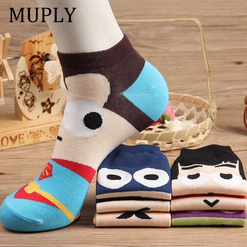 36-42 Summer Men Harajuku   Socks   Hip Hop Ninja Batman Superman SpiderMan Captain America Avengers Short Novelty Sokken D001