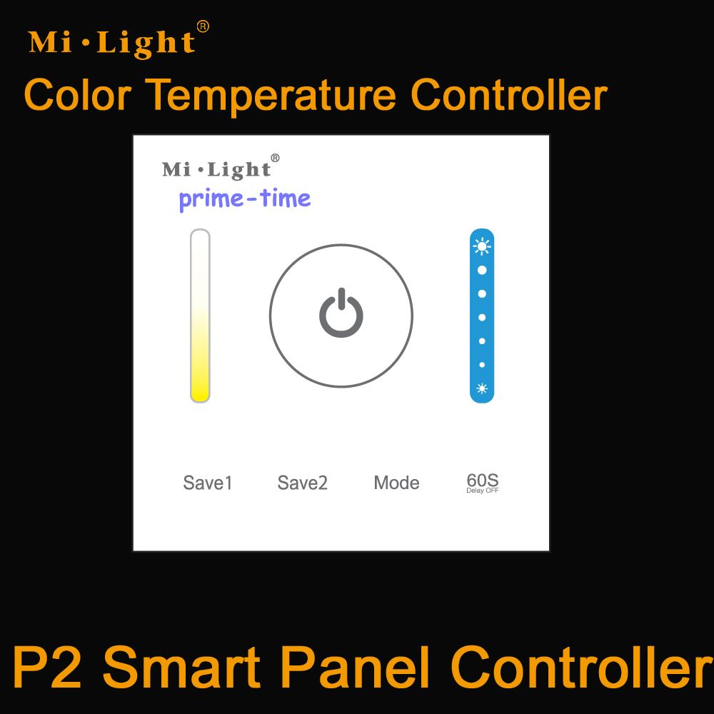 Mi.Light P2 Wal Mounted Touch Panel Smart Panel LED Color Temperature CCT Controller DC12 DC24V 5A/CH for Dual White Strip Light
