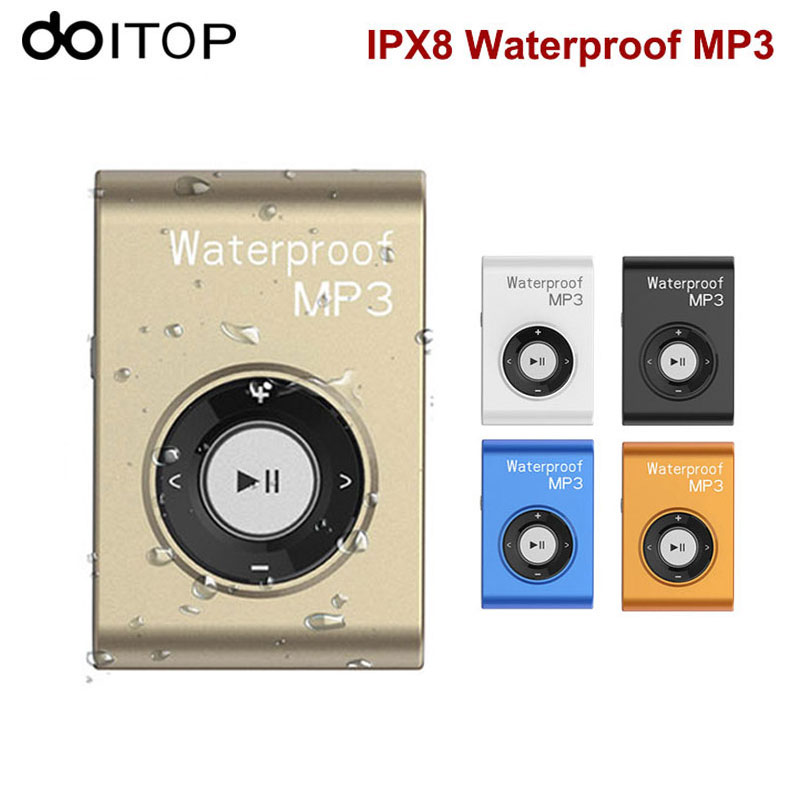 DOITOP Mini Waterproof IPX8 MP3 Player Sports Swimming Clip MP3 Walkman 8GB 4GB Hifi MP3 Music Audio Player Support FM Radio # mp3 плеер ime 2015 mp3 8gb mp3 fm ipx8 waterproof mp3 player