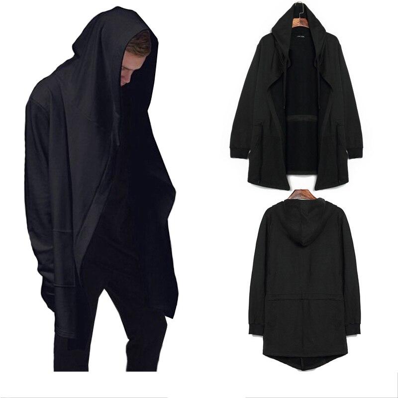 Для мужчин куртка с капюшоном 2018 модный бренд Повседневное одежда с длинным рукавом плащ пальто плюс Размеры черное платье мантии толстовк...