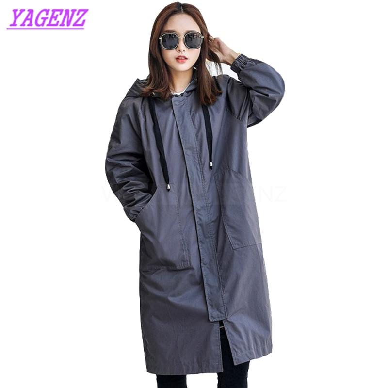 YAGENZ Autumn Winter Windbreaker coat Women Fashion Loose Long   Trench   coat Young Women Straight Hooded Army Green overcoat B289