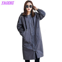 YAGENZ Autumn Winter Windbreaker coat Women Fashion Loose Long Trench coat Young