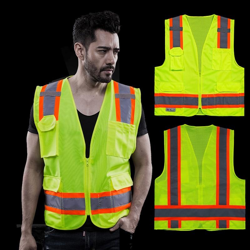 Safety Clothing Smart Reflective Safety Vest Pockets Breathable Yellow Orange Mesh Vest Work Wear