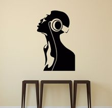 Cool Girl Dj Headphones Decal Vinyl Sticker Night Club Decor Bedroom Art Home Decoration Removable Wall Stickers Wallpaper S145(China)