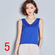LanLoJer J41638 Women Summer Top Casual Loose Sleeveless Solid V-neck Chiffon Shirts