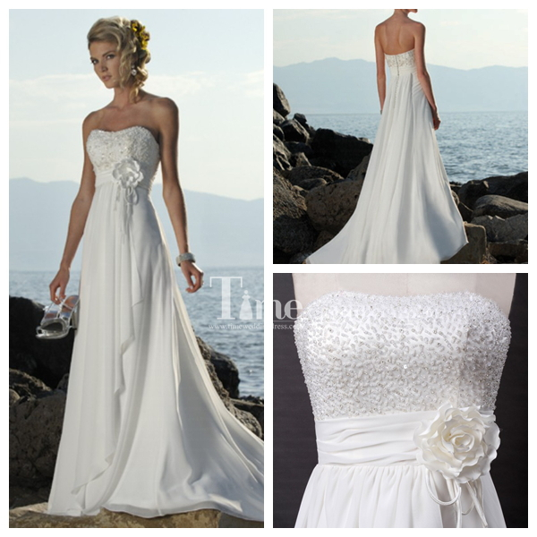 ivory/white/off white chiffon beaded flower lace up A line ...