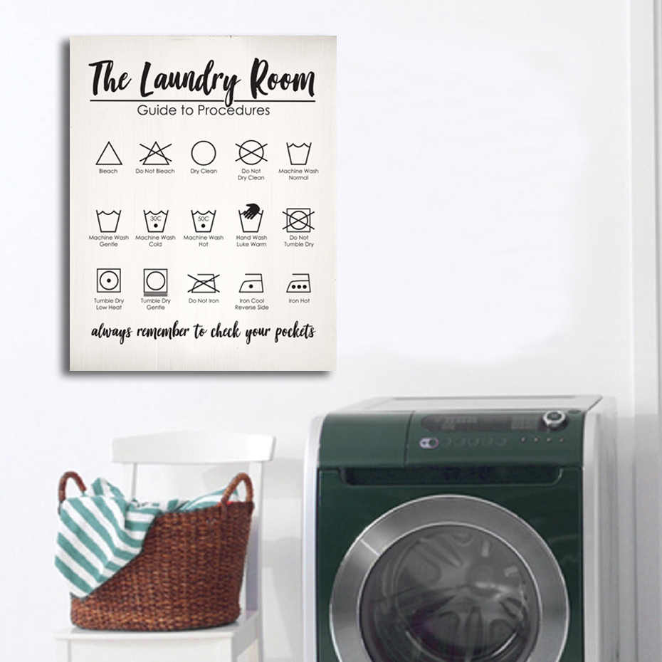 Vintage Laundry Printed Canvas Paintings Decorative Wall Art Prints Posters Inner Pictures Frame DIY Photo Frame Home Decor