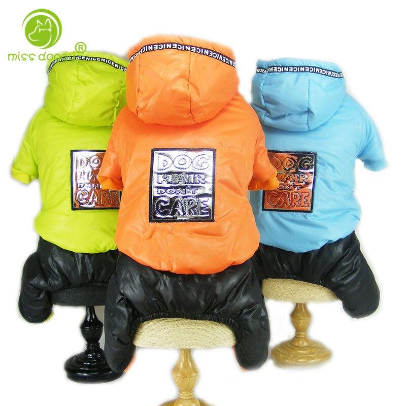 2 colores S-XXL tamaños cuatro patas invierno cálido mascotas ropa para perros pequeños con bordado brillante perros perro del invierno ropa