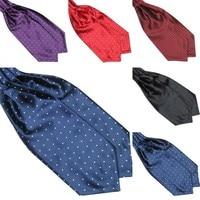 Fashion Polka Dot Men Long Silk Cravat Ascot Ties Handkerchief Gentlemen 5