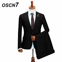 OSCN7 Black Tailor Made Suit 3 PCS Business Wedding Fashion Custom Made Suits Men Gentleman Slim Fit Casual Mens Suits ZM 263