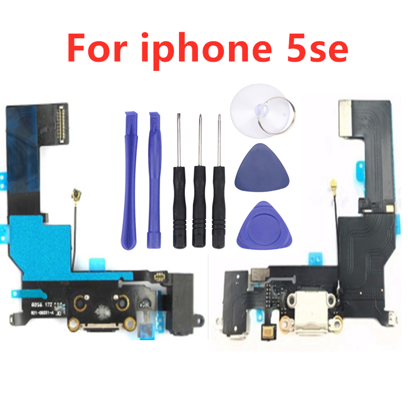 High Quality Charging USB Port Dock Connector Flex Cable For IPhone 5 SE Headphone Audio Jack Flex Ribbon+Assemble Tools