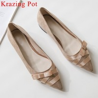 2019 elegant lady ballet shoes pointed toe pregnant woman pumps oxford low heels natural leather bow knot large size shoe L62