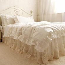 Top estilo Europeo juego de cama de la colmena capa de pastel cubierta elegante bordado de encaje falda de la cama colcha edredón funda de edredón funda de almohada
