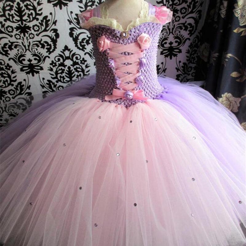 Robe de bal princesse rétro violet clair robe de bal en Tulle moelleux filles de fleurs de mariage sur mesure robes d'anniversaire à la main
