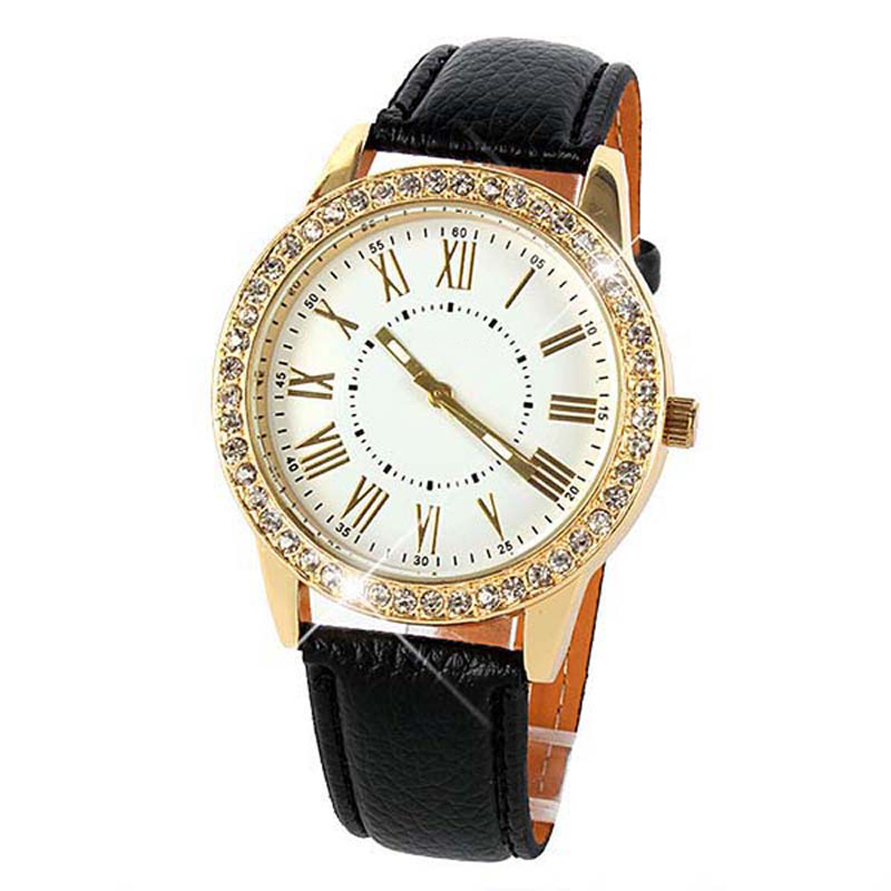 Reloj de pulsera de cuarzo con correa de cuero de lujo de lujo con - Relojes para mujeres