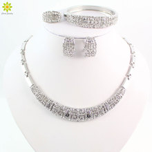 Luxury Crystal Rhinestone Beads Jewelry Set for Party Fashion Wedding Bridal Costume Silver Plated African Jewelry Sets
