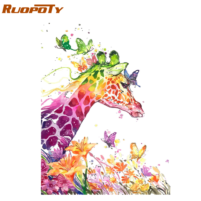 RUOPOTY Frame Cartoon Giraffe DIY Painting By Numbers Animals Modern Wall Art Picture Unique Gift For Home Decor Artwork 40x50cm