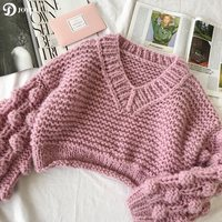 JOYDU Oversized Handmade Hairball Soft Mohair Cropped Pullovers Women Sweater 2018 Winter Thick Needle V neck Fashion Jumper Top