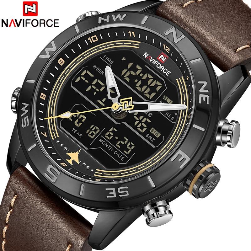 2018 nuevos hombres relojes NAVIFORCE de marca de lujo de la mejor de la moda de los hombres del reloj del deporte de cuero Hombre analógico de cuarzo reloj LED reloj masculio