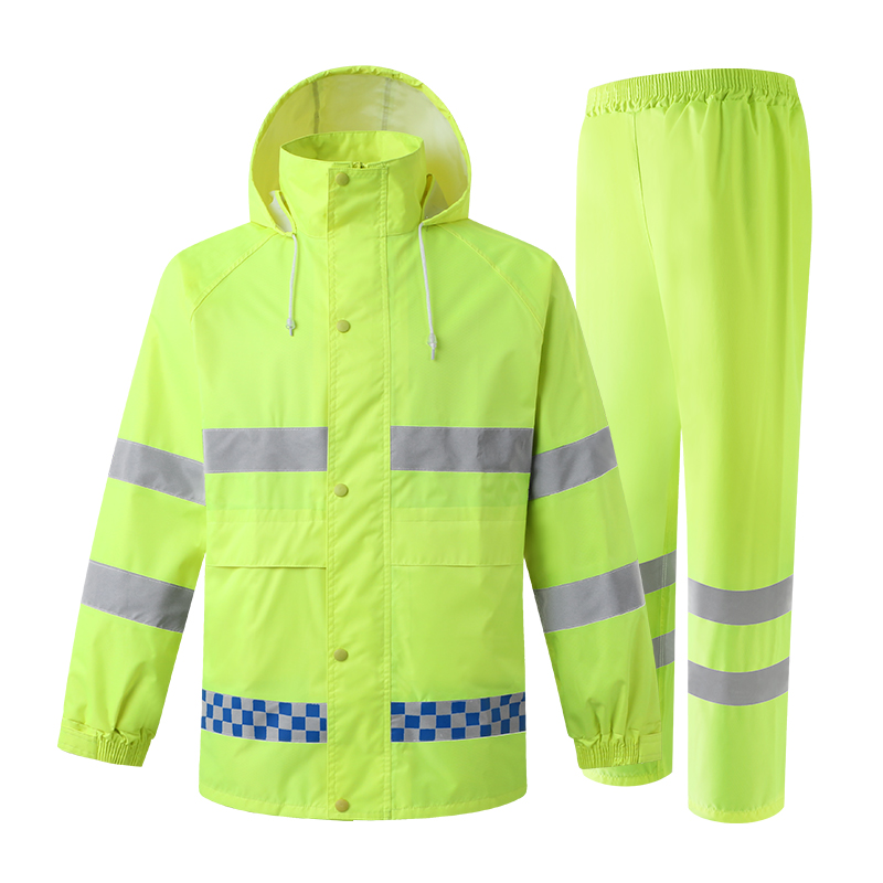 Safety Jacket Yellow Waterproof Rain Coat Rain Pants Work Wear Men With Reflective Stripes