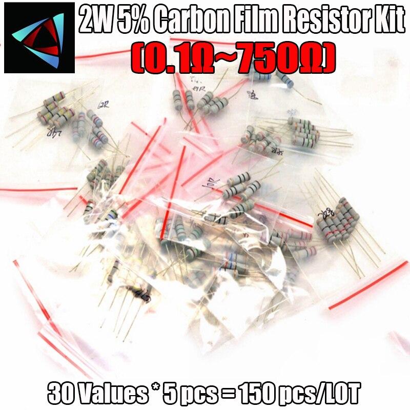150PCS 2W 0.1 Ohm ~ 750 Ohm  30 Values 5pcs Carbon Film Resistors KIT