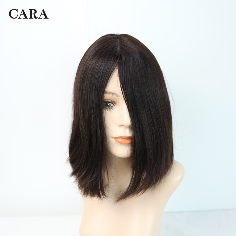 4x4 Silk Base 150% Density Jewish Wig 100% Unprocessed European Remy Bob Human Hair Kosher Wig Natural #4 Straight Style