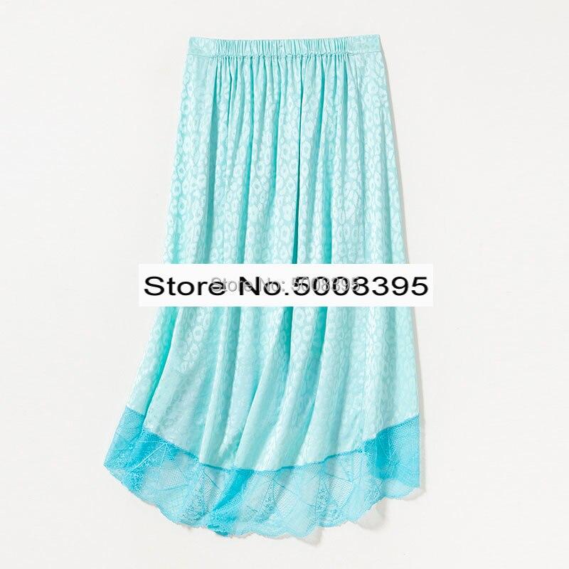 امرأة الأزرق JOSLIN JAC ليو تنورة 100% الحرير الجاكار حريري الدانتيل تفصيل تنحنح غير المتماثلة طويلة التنانير مع جيب مرونة waitband-في تنورة من ملابس نسائية على  مجموعة 2