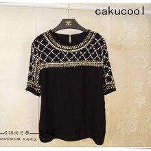 Cakucool женская летняя винтажная блузка с короткими рукавами, шифоновая блуза с бисером, свободные богемные блузки с вышивкой и блестками, топы Femm