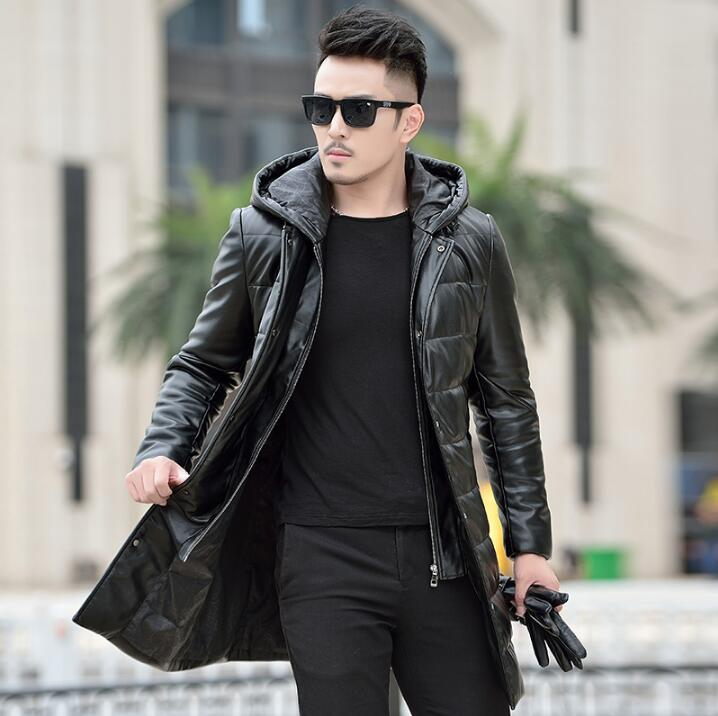 Горячая зима новая мужская брендовая кожаная одежда мужской пуховик длинный тонкий съемный капюшон толстые пальто корейское пальто с мехо...