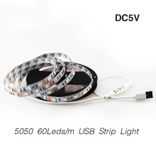 LED USB Strip Light SMD5050 60Leds/m 1M/2M/3M/4M/5M DC5V Indoor Decoration Flexible String PC TV Background Decorate