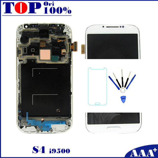 For Samsung Galaxy S4 i9500 LCD Touch Digitizer Screen with Frame Dark Blue/White/Black Replacement