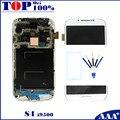 Para samsung galaxy s4 i9500 lcd de pantalla táctil digitalizador con marco azul oscuro/blanco/negro repuesto
